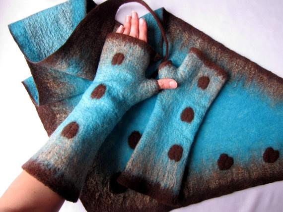 Felted set  Turquoise and Coffee by VictoriaPetryk on Etsy