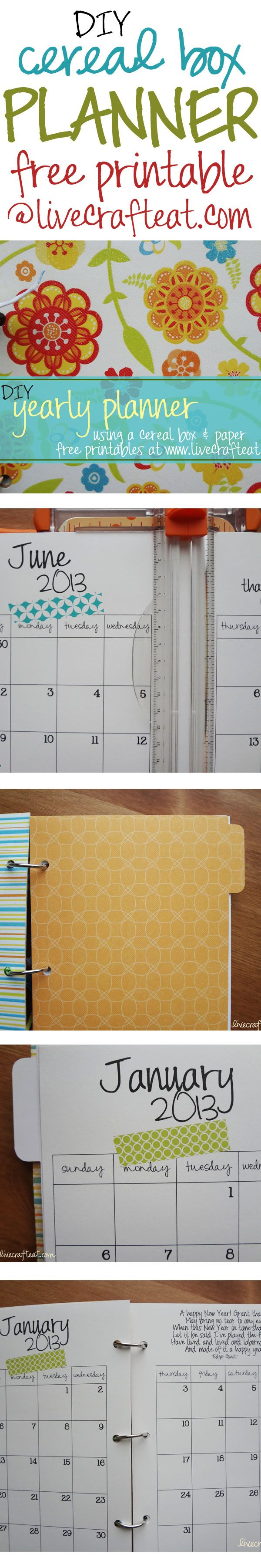 how to make your own planner using a cereal box and scrapbook paper! how to and free printable monthly pages @ www.livecrafteat.com