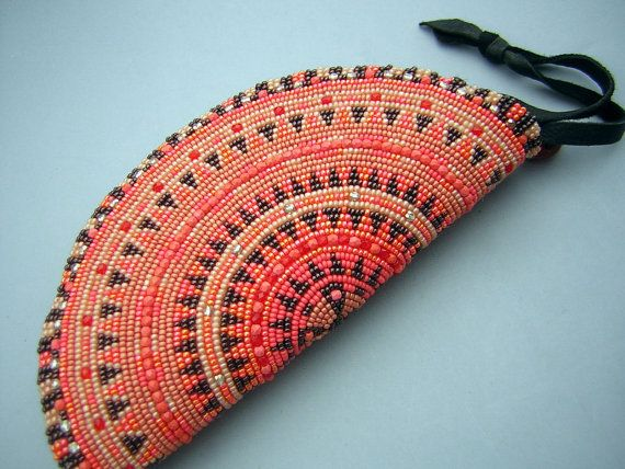 Beaded Handmade Purse Orange Ethnic Pattern Taco Shape Clutch Bag Vintage - MINT