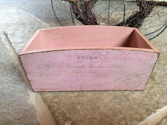 Wooden box pink decoupage box distressed box vintage style