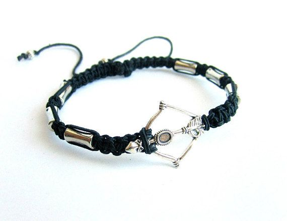 Mens bow and arrow bracelet mens macrame bracelet shamballa
