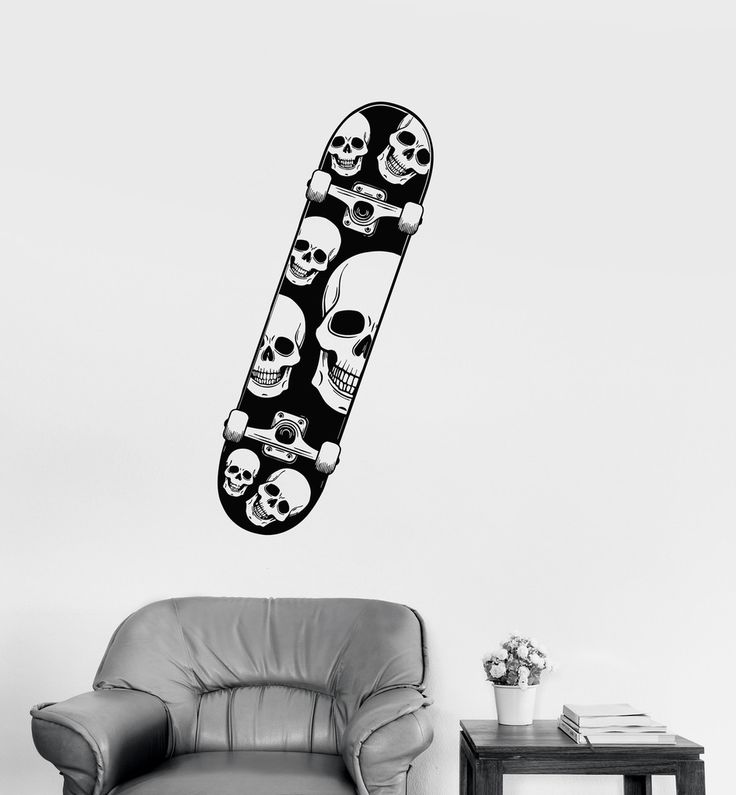 Vinyl Decal Skull Skateboard Extreme Sports Teen Room Wall Stickers Mural (ig2703)