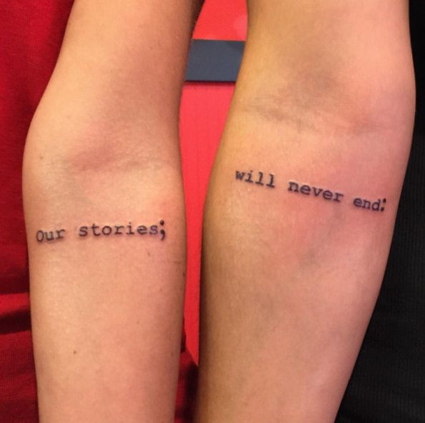 Best friend text tattoos by Rebecca Fedun