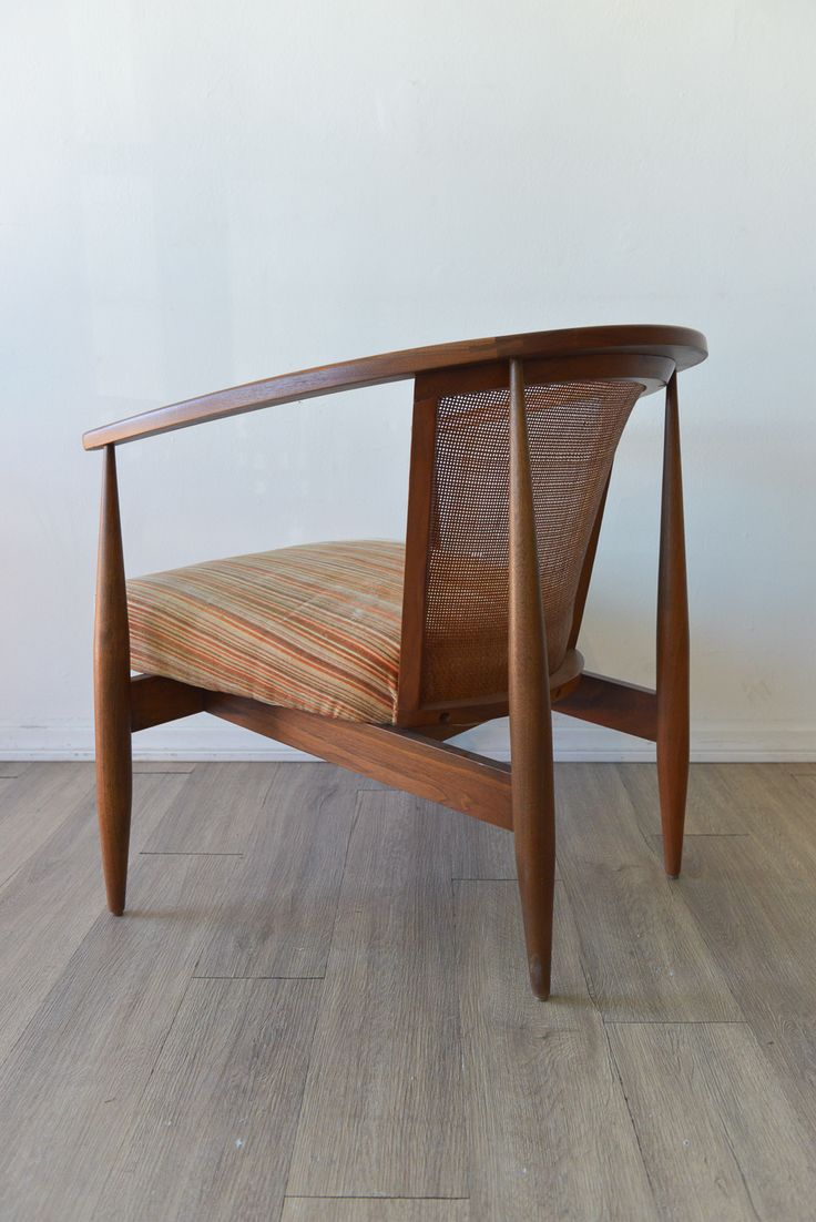Sculpted Walnut and Cane Armchair Made by Kodawood of Miami in the 60's Walnut and Cane