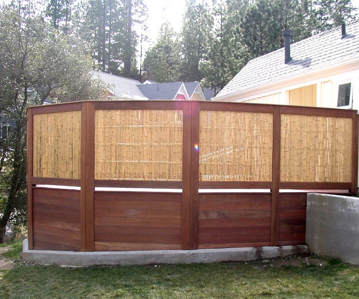 Natural framed bamboo hot tub privacy enclosure outside for Pool privacy screen