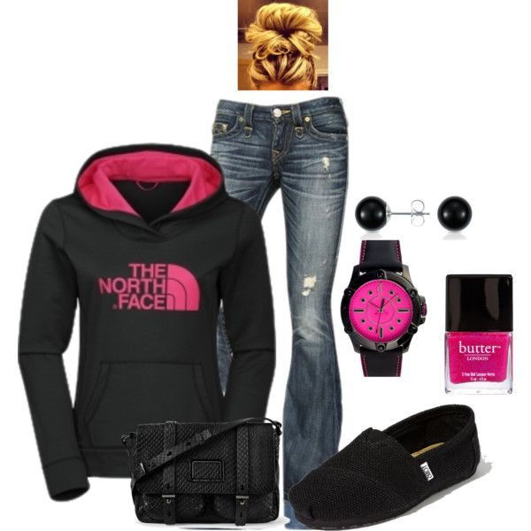 North Face - I actually like this outfit!  I almost never see polyvore outfits that I would wear and, while this one needs cowboy boots instead of toms and most of my friends will tell you I'm not crazy about pink, I like this outfit.  Not these jeans though, I've seen other pairs that I like better, or I could wear it with a denim skirt. . .