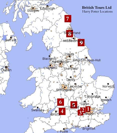 Great map uk private guide sightseeing tours - harry potter theme tour - map of film lcations