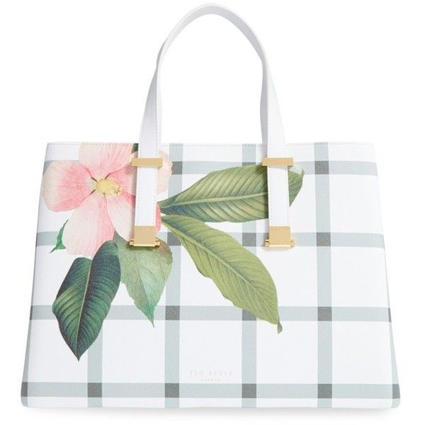 Ted Baker London 'Secret Trellis' Floral Print Faux Leather Shopper (6 350 UAH) ❤ liked on Polyvore featuring bags, handbags, tote bags, cream, white tote bag, shopping bag, vegan tote bag, shopping tote bags and faux leather tote