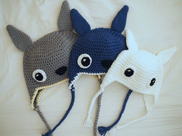 Totoro Family of Hats Crochet Pattern All Sizes