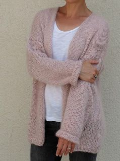 Tricolyne: Long gilet rose, long mohair cardigans, knit, pink sweaters