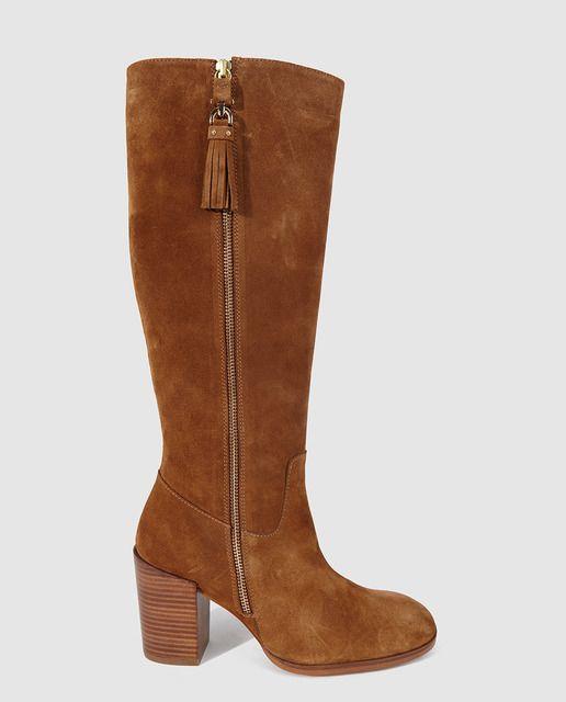 Botas de tacones altos de mujer de piel marrones