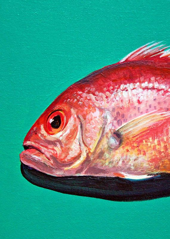Red Snapper Fish  Foodies Blank Card by jodyvanB on Etsy