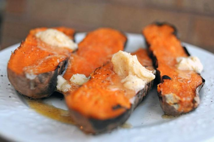 Grilled sweet potatoes with honey butter prepared by Olga Watkins. Jasmine Goldband | Tribune-Review