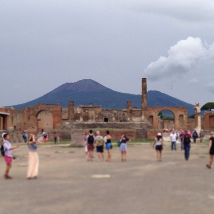 Mount Vesuvius from Pompeii ruins under a steel gray sky (early Fall 2014)