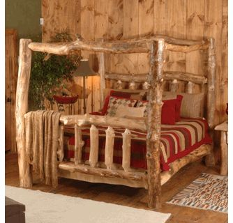 Wasatch Log Furniture   Silver Creek Aspen Canopy Bed