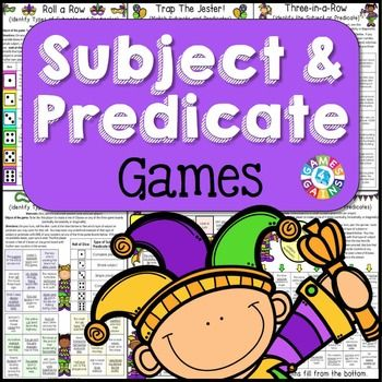 Subject+and+PredicateSubject+and+Predicate+Games+contains+6+fun+and+engaging+printable+board+games+to+help+students+to+practice+the+following+skills:++++Matching+subjects+and+predicates++++Identifying+subjects+and+predicates++++Differentiating+between+simple+subjects+and+complete+subjects++++Differentiating+between+simple+predicates+and+complete+predicatesThese+games+are+so+simple+to+use+and+require+very+minimal+prep.