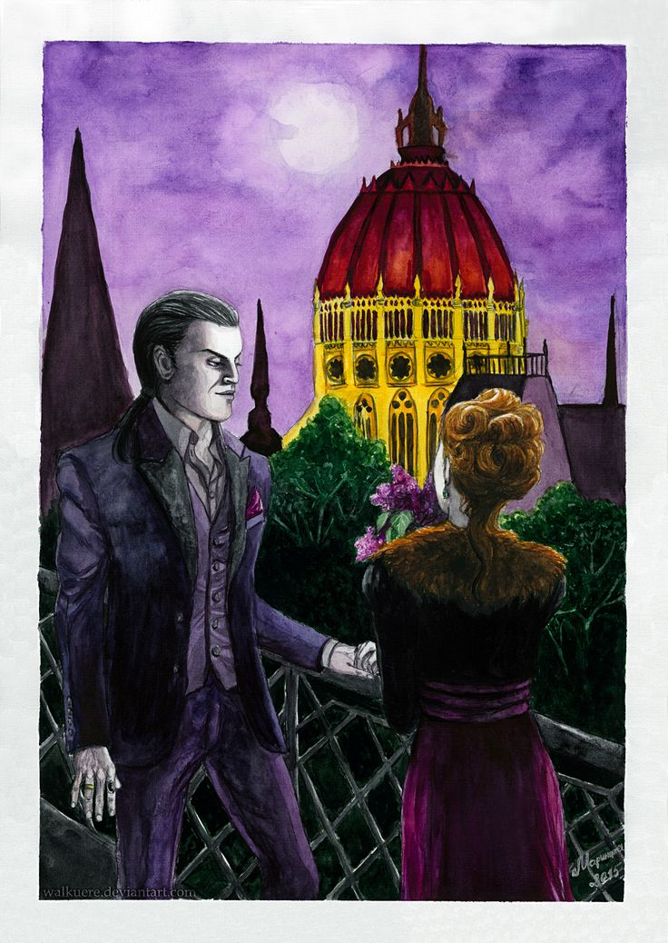 """Two in Budapest. Watercolor painting based on my original novel """"As long as your heart beats"""" («Пока твоё сердце бьётся» in Russian) about a modern 24 years old girl Sveta from Saint Petersburg and 361 years old vampire Stefan Tumas from Budapest."""
