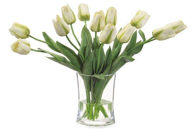 """27"""" Simply Tulips in Vase, Faux"""
