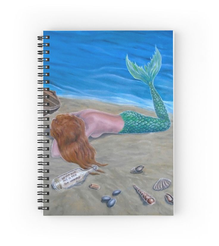 Spiral Notebook,  mermaid,aqua,blue,colorful,fantasy,stationery,school,supplies,cool,unique,fancy,trendy,awesome,beautiful,design,unusual,modern,artistic,for sale,items,products,office,organisation,redbubble
