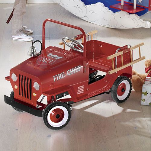 Put Out the Fire Let them speed to the scene in style with a fire truck inspired pedal car that sports their own name. They can try their hand at being the hero and even save kittens from backyard trees.