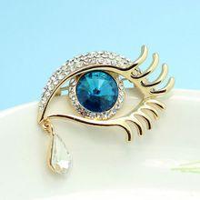 Kalite Süper Mavi Göz Moda Kadın Broş Buket Parlak Marka Avusturyalı Crystal Hicap Aksesuarları Sevimli Gözyaşı Broche Relogios(China (Mainland))