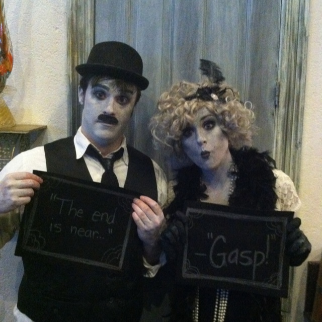 Charlie Chaplin and his lady friend. Halloween clever costumes