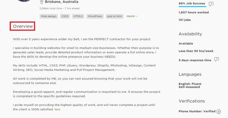 Freelancer Profile On Upwork