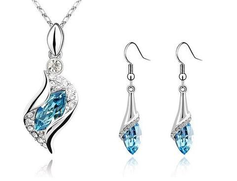 New Fashion Charms Austria Crystal Horse Eye Necklace &Earrings Jewelry Set