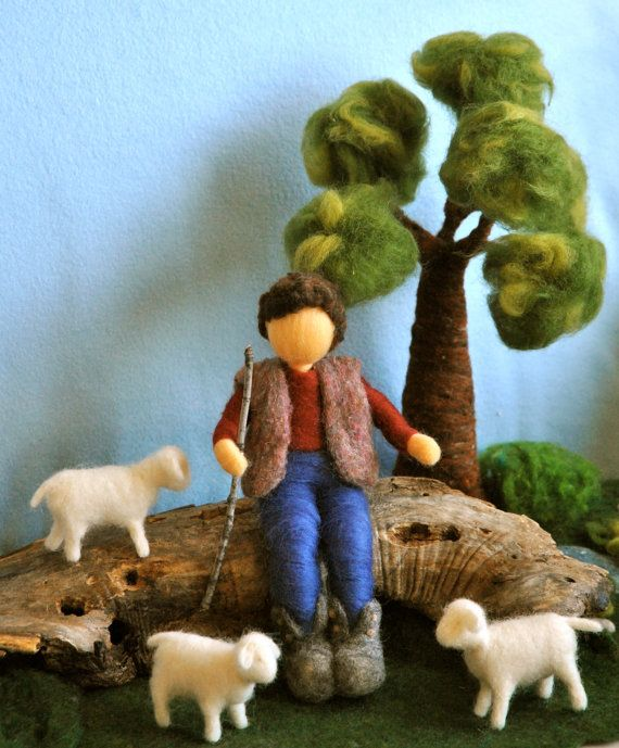 Needle Felted Waldorf inspired Standing Doll : The shepherd (boy with sheep). Love the tree