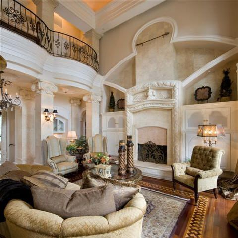 Beautiful living room interior classical double story for Beautiful sitting room designs