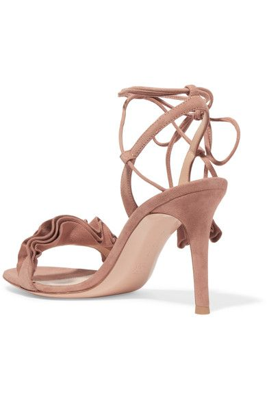 Gianvito Rossi - Ruffled Suede Sandals - Taupe - IT41.5