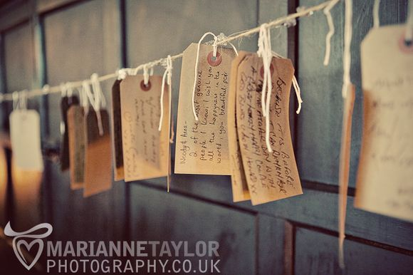 Use old travel tags as paper for people to write marriage advice and congratulations on>>> If you're getting married and you love to travel this could be a really cute idea!