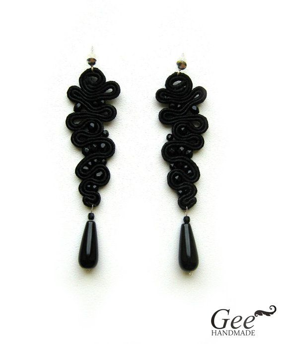 black soutache earrings on etsy