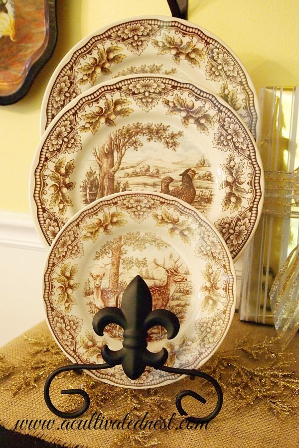 Brown Transferware - The Victorian Pottery by Edward Challinor - deer and pheasant plates