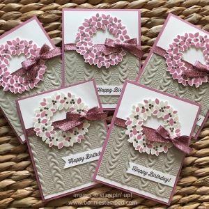 #wondrouswreath #wonderfulwreathframelits #birthdaycards #cableknitembossingfolder #ribbon