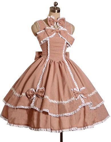 Lolita Dress A Line Square Neck/Long Sleeves with Bow