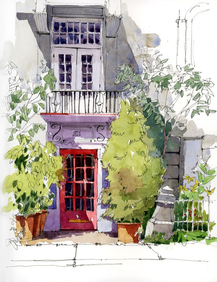 "Workshop in Old Montreal | Urban Sketchers - sadly, the artist for this piece is not listed! I am presuming pencil or pen and watercolor, based on the look. Here's another ""red door"" I love!"