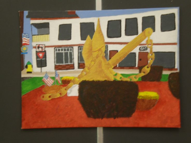 Another example of student work - painting of the Olypant anchor...find a place or object (logo or image) that represents a memory or aspect of your future