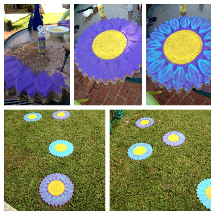 Painted Garden Stones: Gave Our Old Clay Stepping Stones New Life By Painting