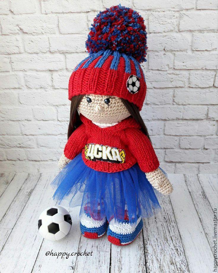 Купить Мисс футбол - тёмно-синий, красный цвет, ЦСКА, белый, кукла ручной работы
