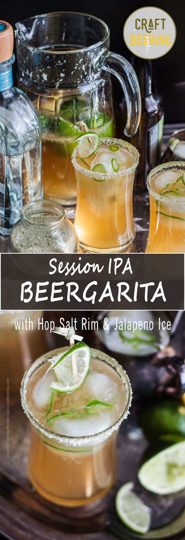 Among beer cocktails this Beergarita with Hop Salt Rim and Jalapeno Ice Cubes is a star. A Session IPA margarita with a twist:)