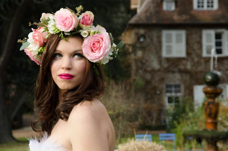 Rose Floral crown with freesia, eucalyptus and rosemary. Photography by Innate Form Photography, Make up by Samantha Matthews Make up artist and hair by Emma Lousie hairstylist.