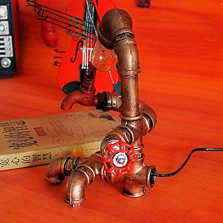 Loft industriale Desk lampade antiche Lampade da tavolo Edison E27 110V-220V del tubo della lampada di lettura dell'annata per Soggiorno Illuminazione