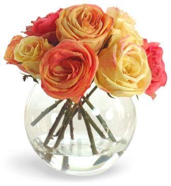 Rose In Vase Flower Arrangement Orange Yellow Traditional Artificial Flowers Winward