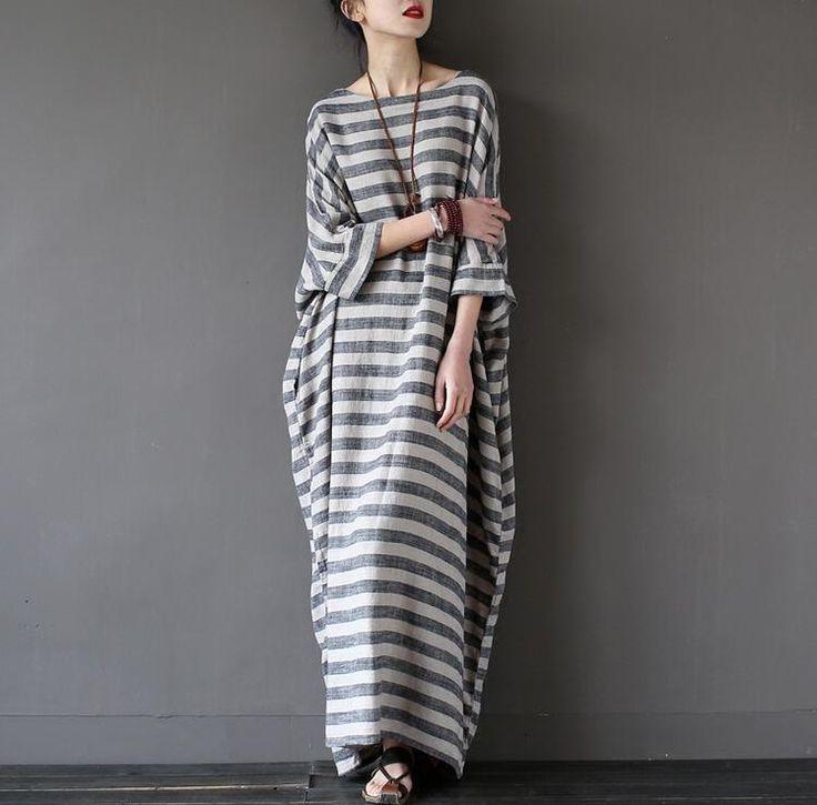 Vintage Women Casual Loose Cotton Linen Dress Long Sleeve Maxi Shirt Dress Hot