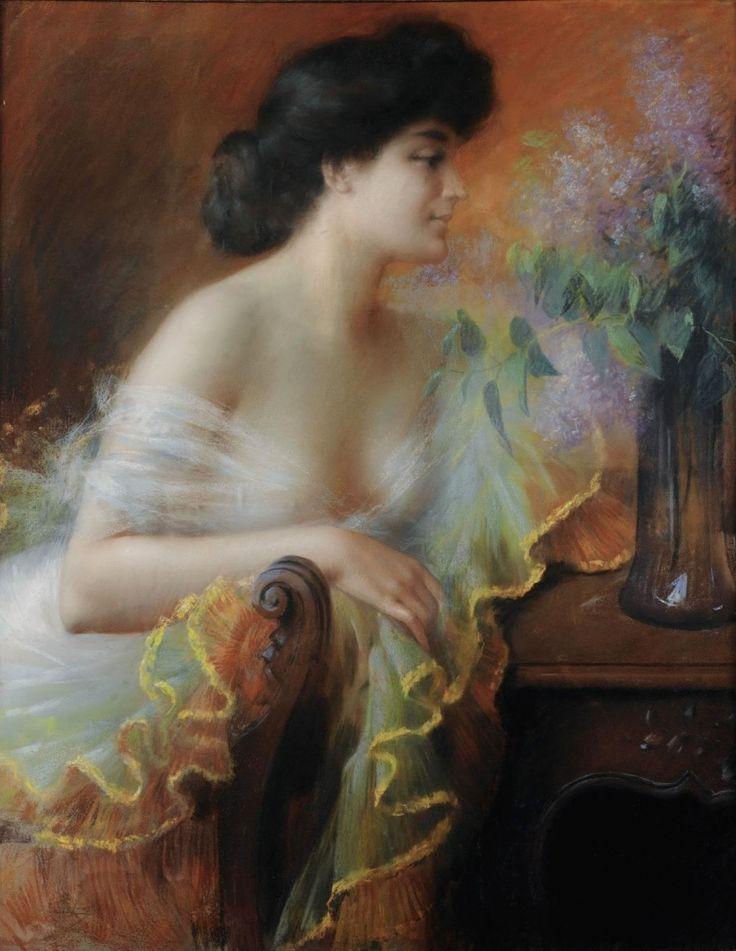 Delphin Enjolras (1857-1945) французский художник испанского происхождения родился 13 мая 1857 года в Courcouron, Ardeche. Enjolras в начале своего творчества рисовал пейзажи, но потом переключился на портреты молодых элегантных женщин, ведущих светский образ жизни.