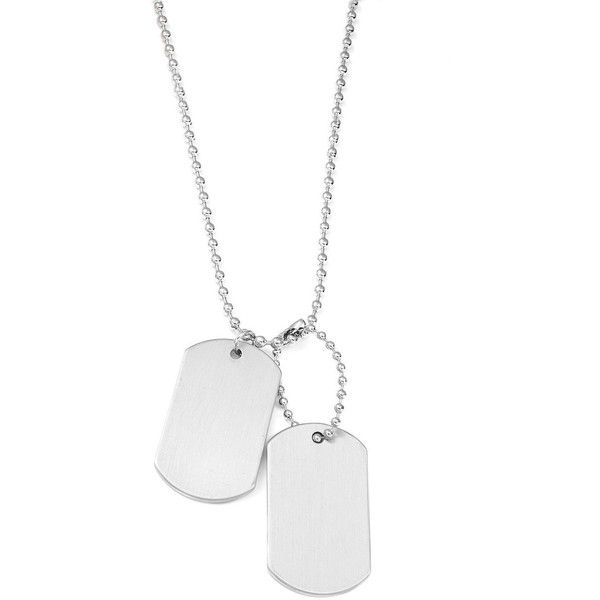Variations Layered Dogtag Pendant Necklace ($20) ❤ liked on Polyvore featuring men's fashion, men's jewelry, men's necklaces, silver, mens silver necklace, mens dog tag necklace and mens ball chain necklace