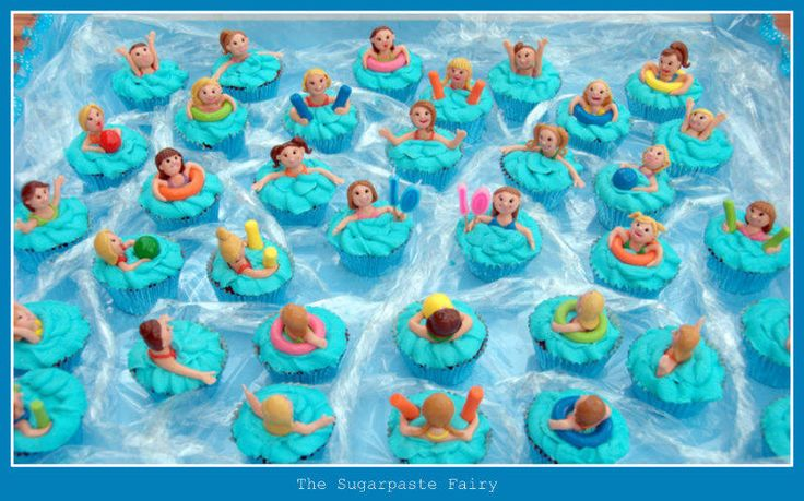 Swimming party cupcakes - Cake by The Sugarpaste Fairy