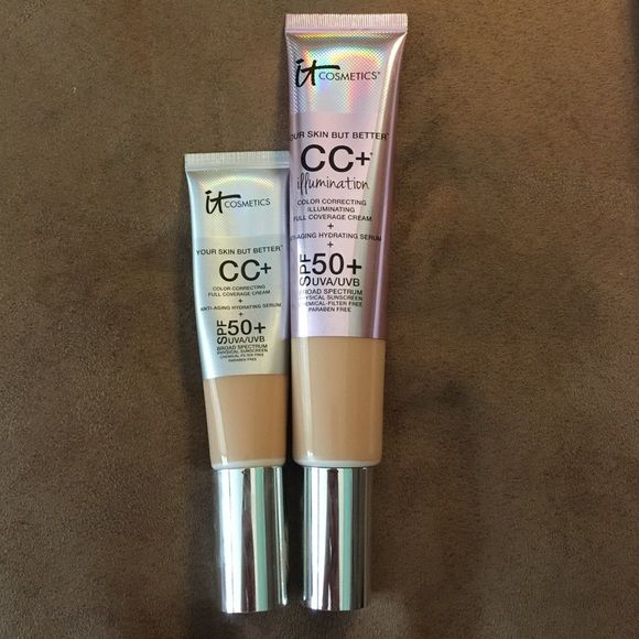 2.53 fl.oz CC+ illumination foundation it cosmetics SUPER SIZED tube of shade MEDIUM CC+ illumination cream, 1st pic is of my super sized tube VS my regular size tube, the one I am selling is in the 2nd picture BRAND NEW box never opened shade MEDIUM with the Heavenly Skin CC+ skin perfecting brush #702 also brand new never opened, regular size tube is 1.08 fl oz vs the super sized version at 2.53 fl oz! This size tube was an exclusive on QVC and will never be released on the website or in…