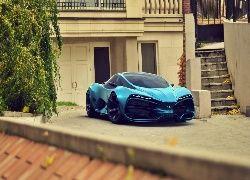 Niebieski, Samochód, Lada, Raven